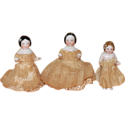 RARE 1850s TWIN Dressed Frozen Charlottes Plus One Antique China Dolls