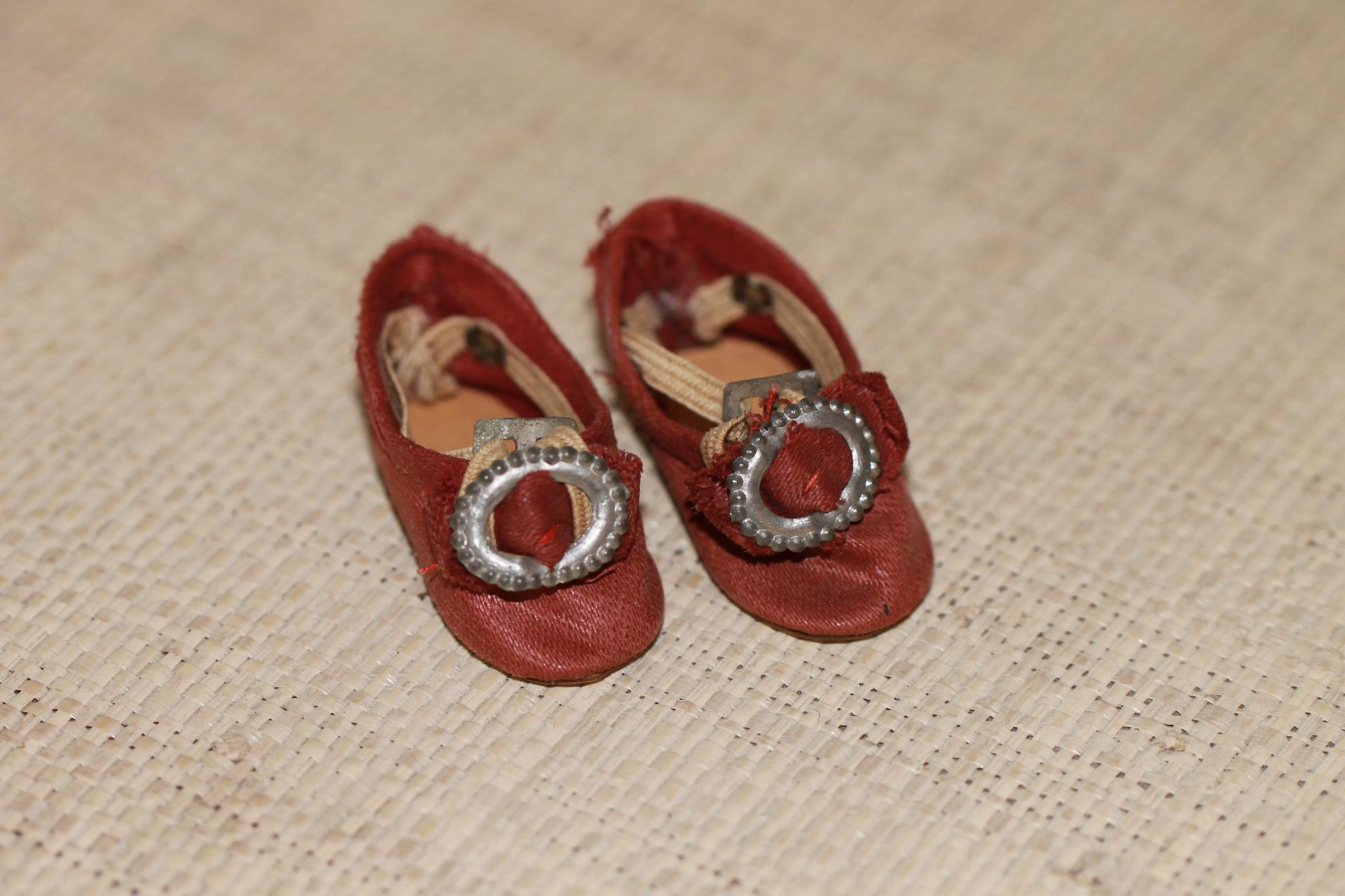 Small Reddish Antique Doll Shoes for Bisque, China Doll