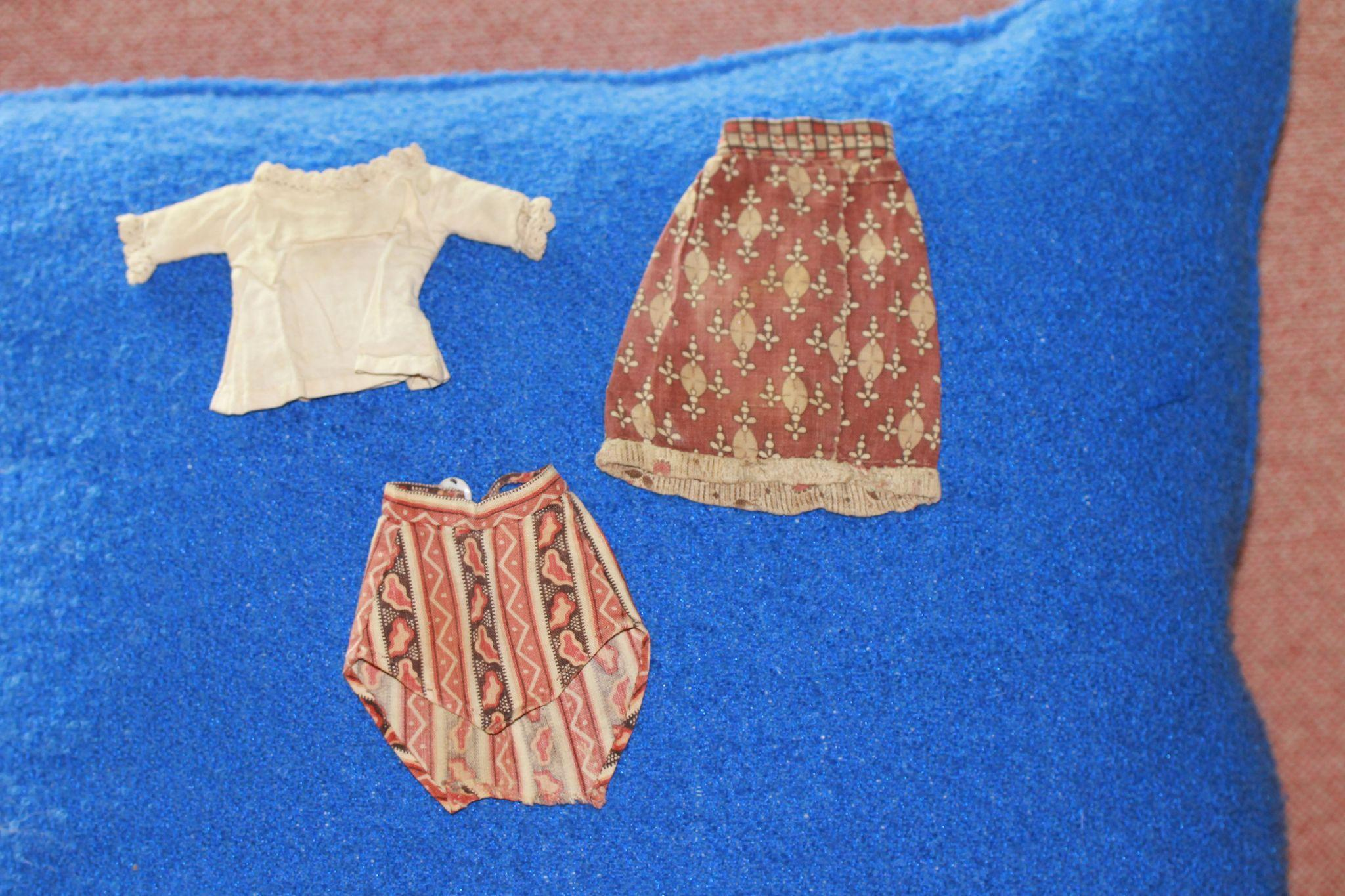 EARLY Antique Calico Skirt, Overskirt, Blouse for Smaller China Doll