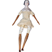 1840s Wood Bodied China Doll w/ Bun Fully Dressed