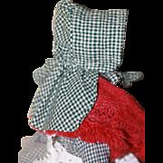 Antique Homespun Bonnet for China, Papier Mache or Cloth Doll