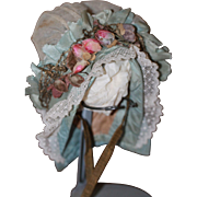 Beautiful Antique Bonnet for Small Bebe, Larger French Fashion