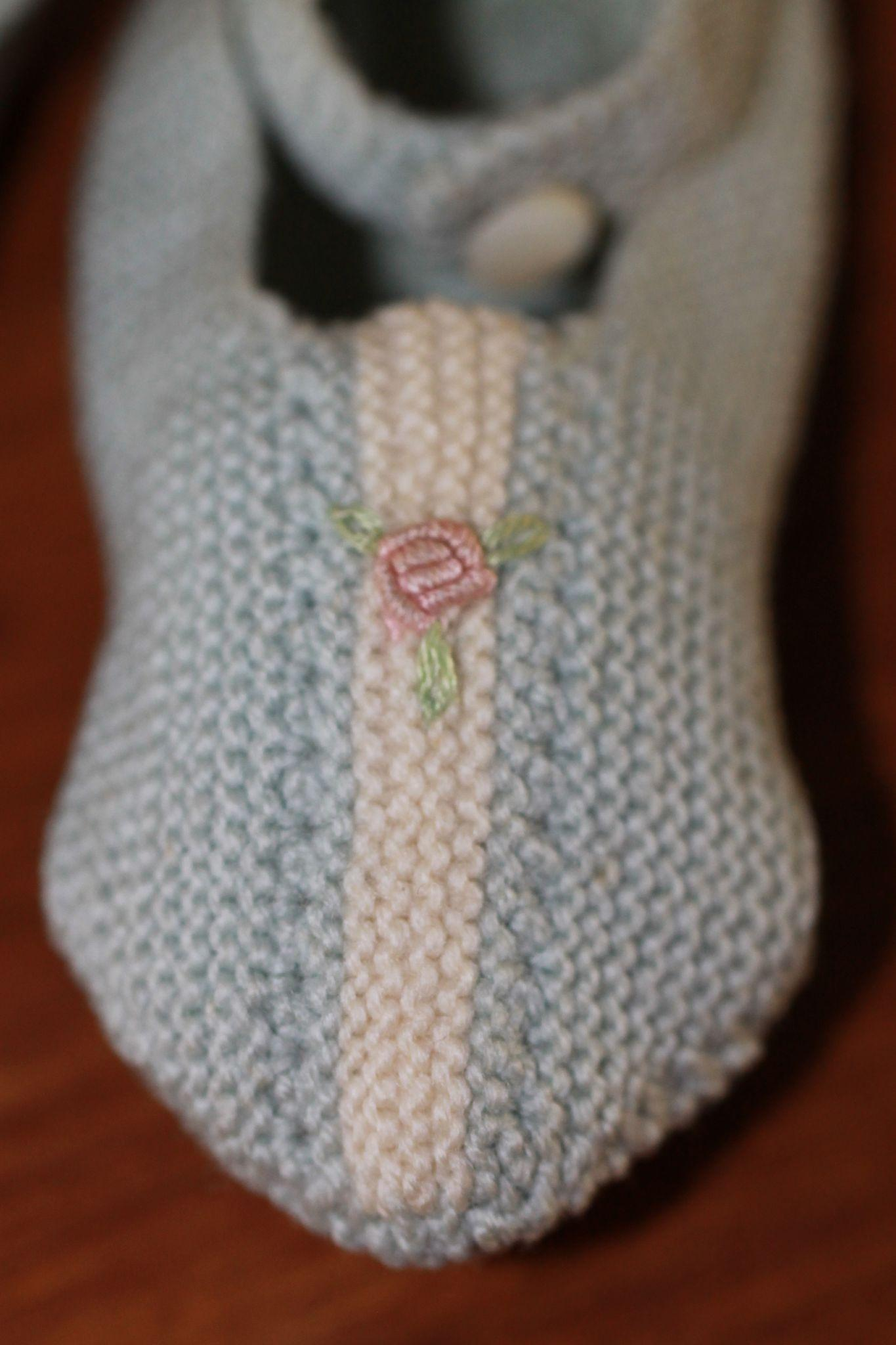 Fab Hand Knit Slippers for Bisque Bebe, Baby Doll, Cloth Doll