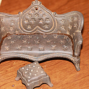 Antique Miniature Cast Iron Sofa and Ottman for Dollhouse Dolls