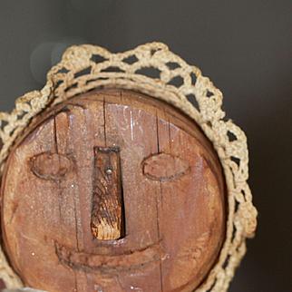 Antique Wood Doll Primitive Hand Carved