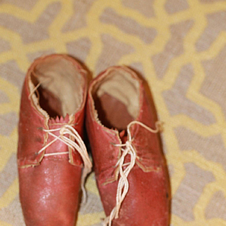 Antique 1850 Square Toe Red Leather Shoes for Early Cloth, China Doll