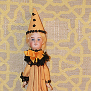 Halloween Umbrella Bisque Doll RARE Vintage