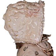 Detailed Blush Anitque Bonnet for Bebe, China Doll