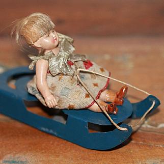 HM Sled Celluloid Doll Christmas Decoration/Doll
