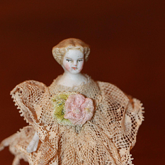 3 1/2 in. 1860s Antique Bisque Dollhouse Doll Doll House