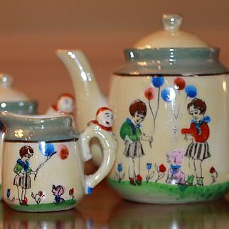 Clown Handled 10 Piece Tea Set So Cute!!!!!