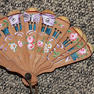Antique Fab Painted Fan For French Fashion Doll