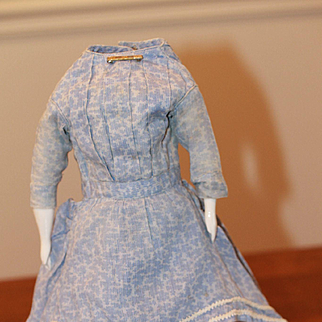 1860s-70s Blue Calico Dress for Antique China, French Fashion Doll
