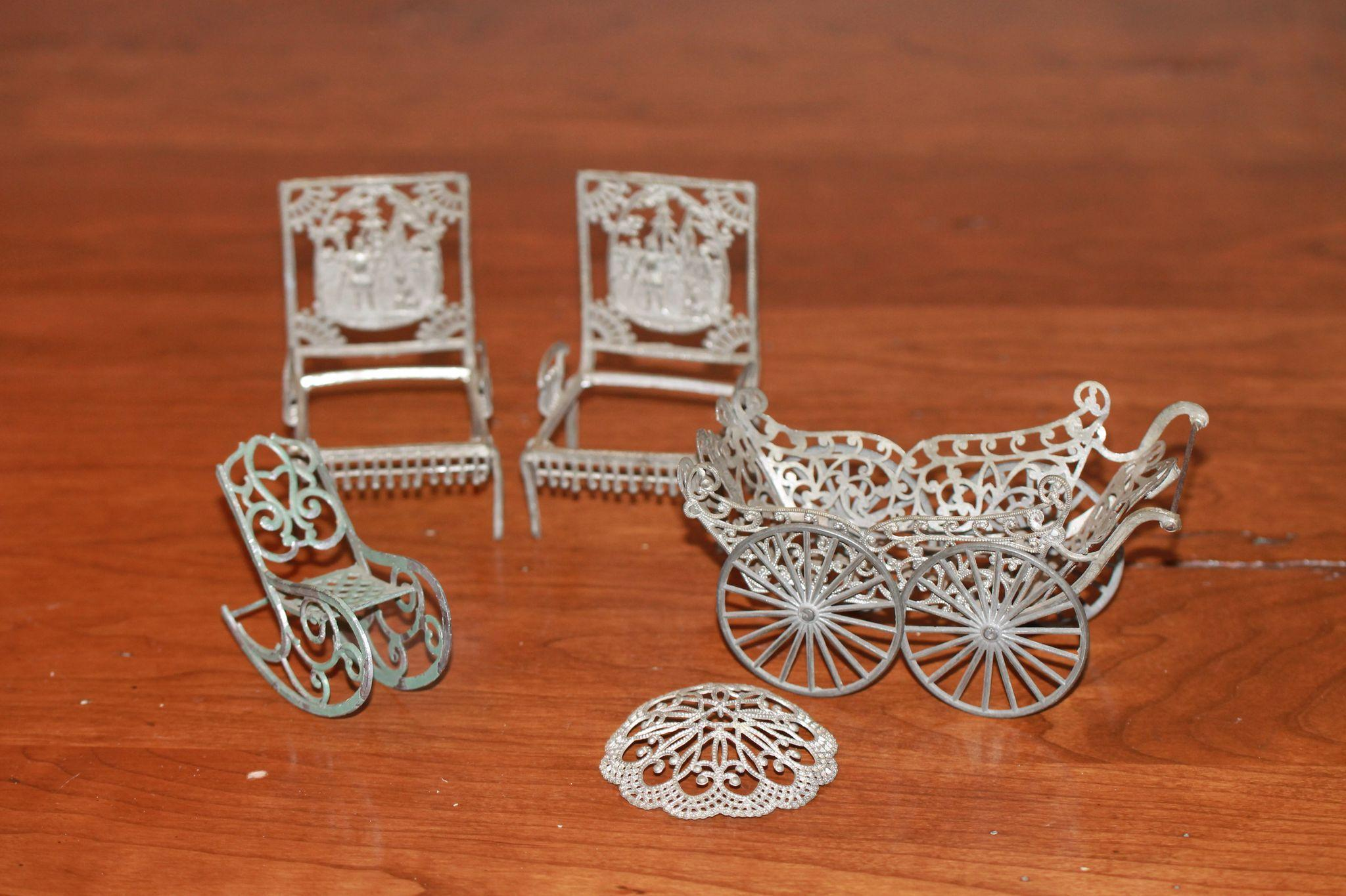 Fancy 1890s Lead Doll House Carriage, Furniture