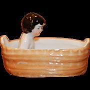 Antique Frozen Charlotte in Bath Tub Luster Glaze
