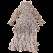 Antique Calico Dress For China, Papier Mache, Bisque Dolls