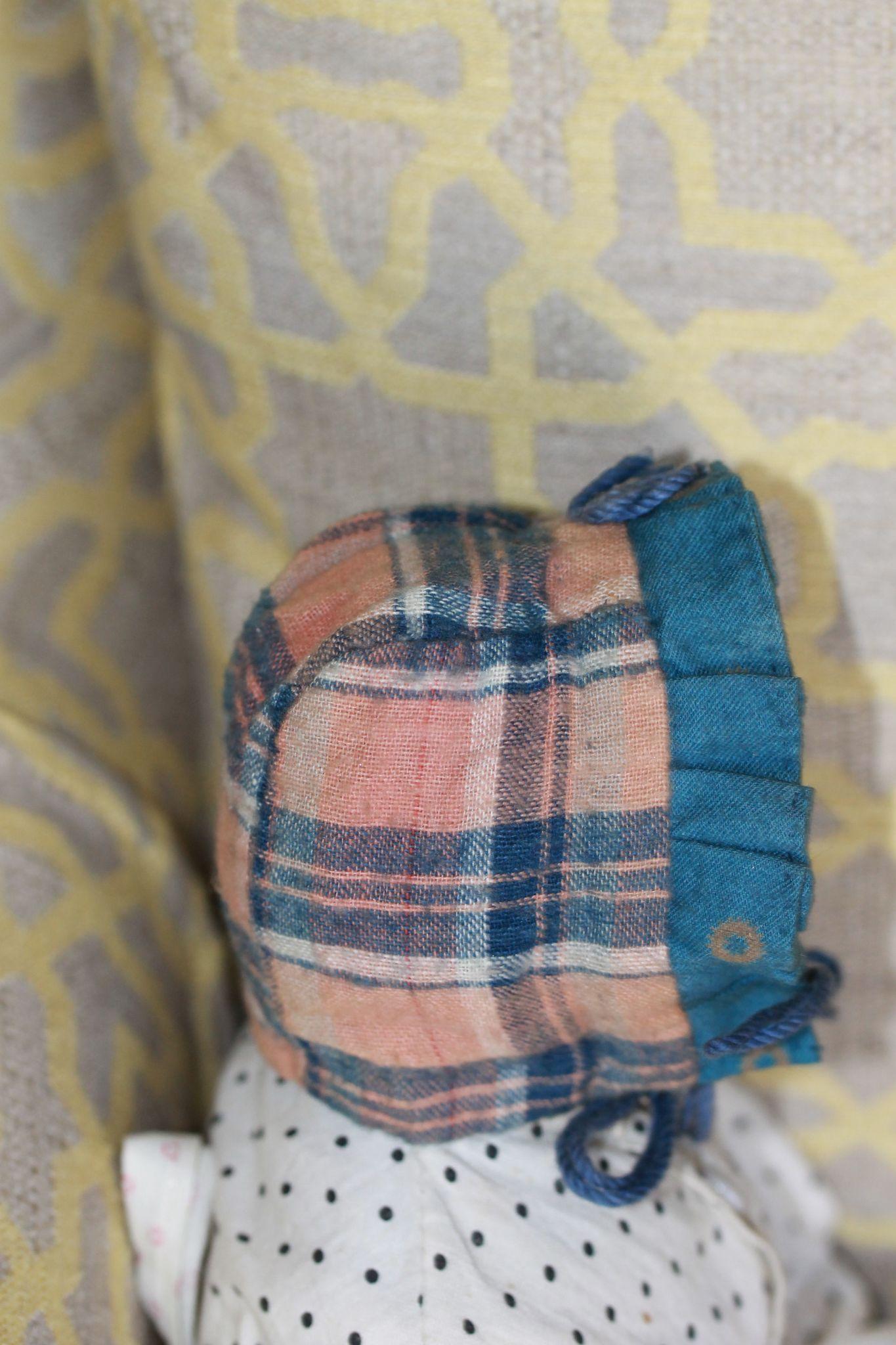 Antique Bonnet for China, Cloth, Papier Mache Doll