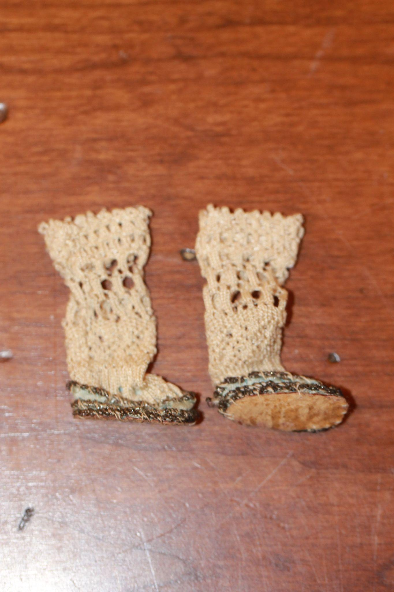 Elusive Antique Shoes for Mignonette Doll, Small Barefoot Doll