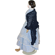 Exposed Ears Covered Wagon Antique China Doll CRISP MODELING