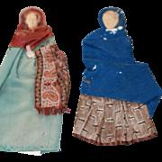 Antique Early Cloth Paper Dolls OOAK Folk Art