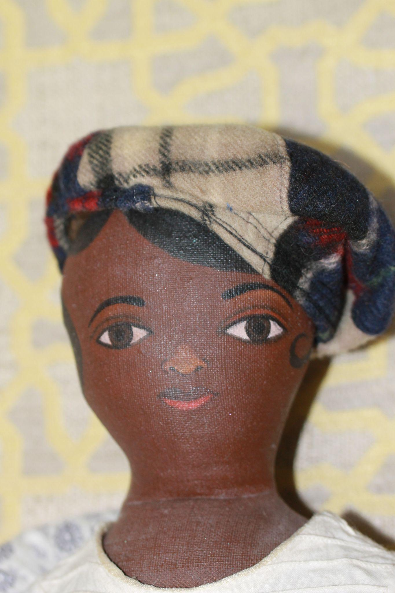 Fab Early Plaids Wool Boy Cap for Antique Cloth, Bisque Doll