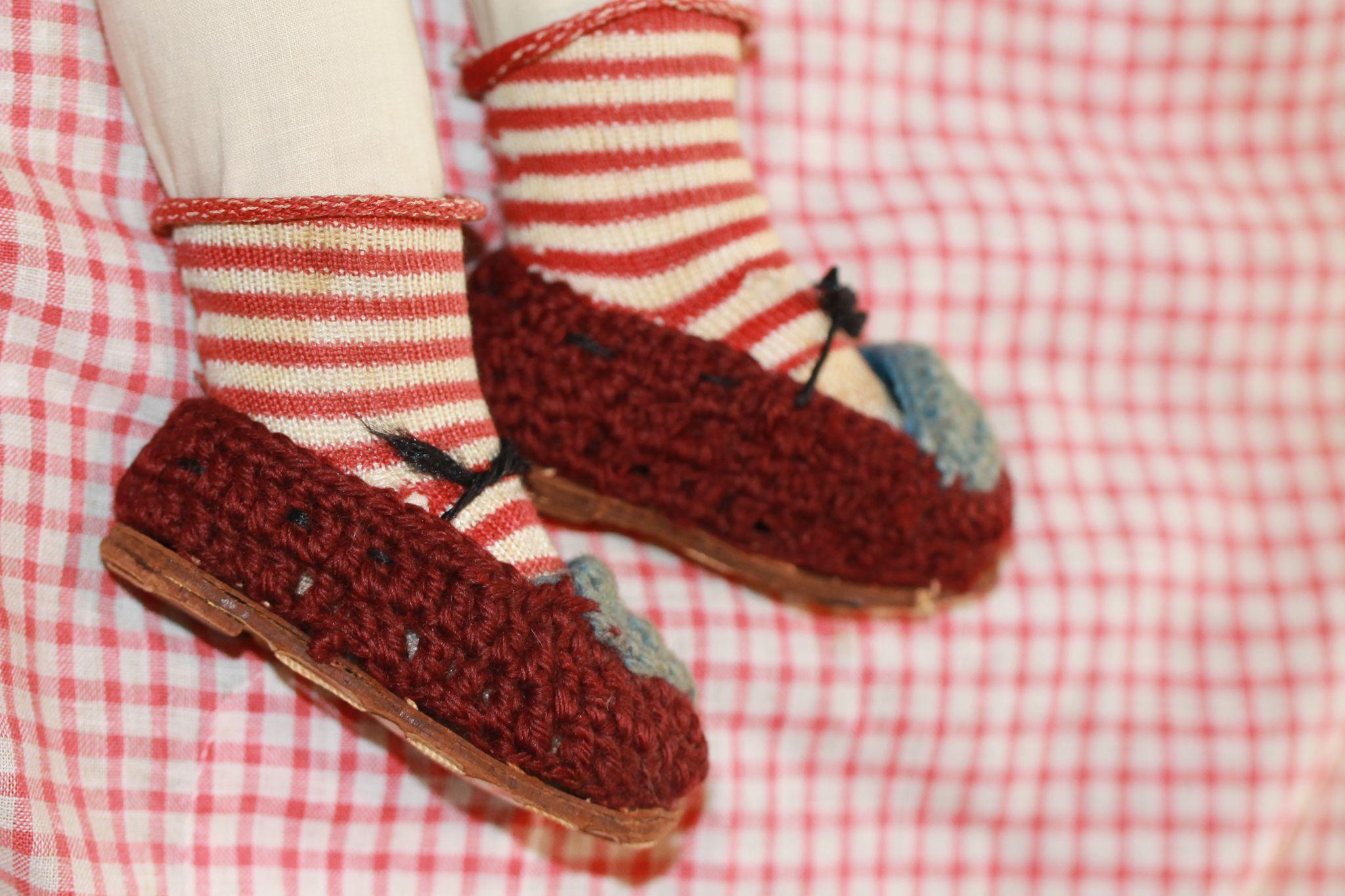 Antique Hand Knit Doll Shoes for China, Cloth, Papier Mache Doll