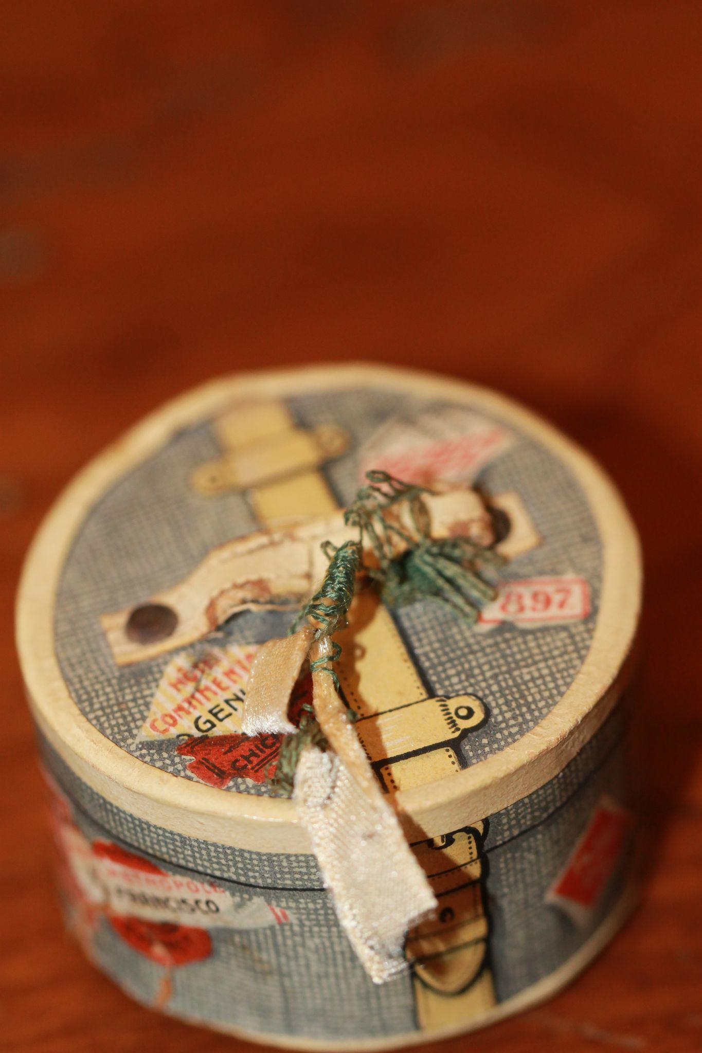 Antique Miniature Hat Box for China, French Fashion Doll