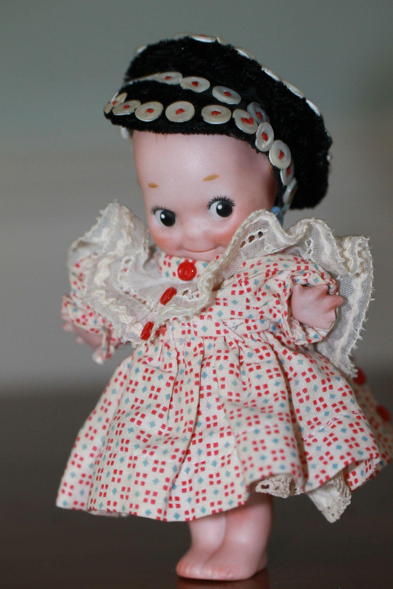 5 1/2 Antique Kewpie Doll w/ Button Cap