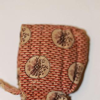 Antique Calico Bonnet Small Milliner's Model, China Head Dolls