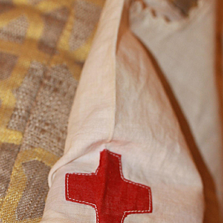 Red Cross Dress for Larger Bisque, Composition Doll