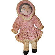 Antique Cloth Doll House Doll Crocheted Beautiful Miniature