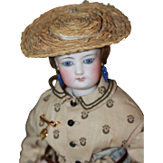 Antique Straw Hat for French Fashion Doll
