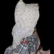Antique Calico Bonnet for China, Cloth, Bisque Dolls