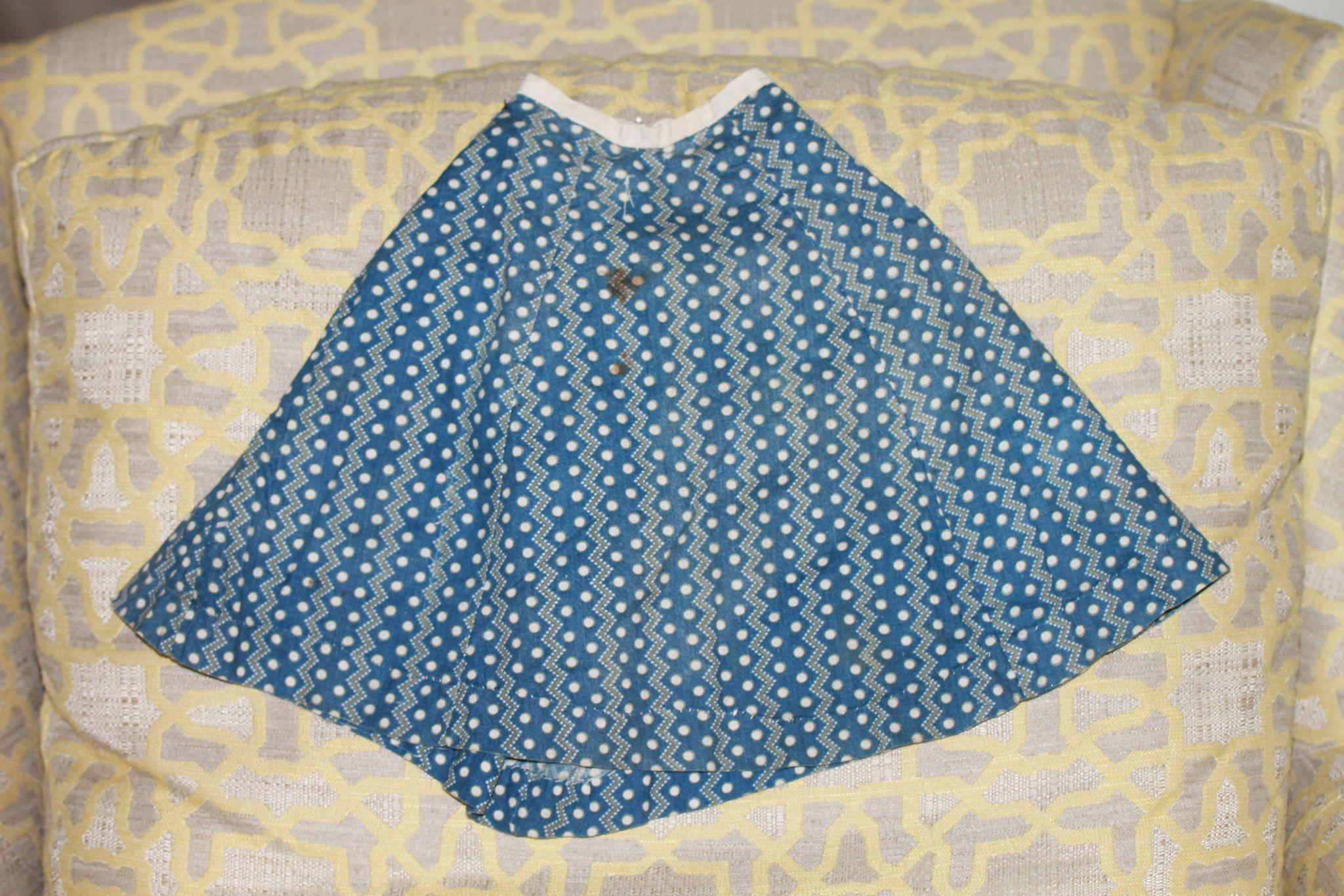 Early Antique IndigoSkirt for Cloth, China Doll