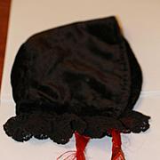 Antique Black Velvet Bonnet for Larger Bisque Doll