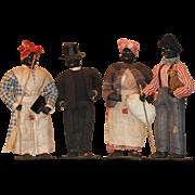 Four 1939 Poinsettia Dolls Black Cloth Dolls