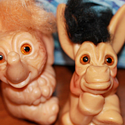 2 Vintage Dam Troll Things Donkey Elephant Doll