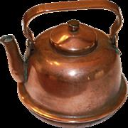 Older Miniature Copper Tea Pot for Antique Bisque, China  Dolls