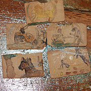 Miniature Slave Drawings by a Child w/ Antique Purse