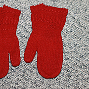 Antique Hand Knit Mittens for Large Bisque, Cloth Doll