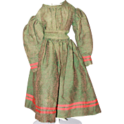 Ca. 1880 Green, Red Dress for China, Bisque Doll