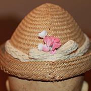 Early 1900s Straw Hat for Bisque, Composition Doll