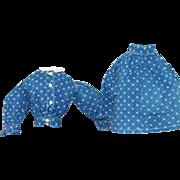 Antique Indigo Dress for Lgr China, Bisque Doll