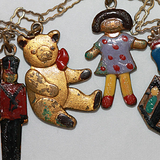5 Brass Charms Necklace for Bisque, Composition Dolls Golliwog, Teddy Bear