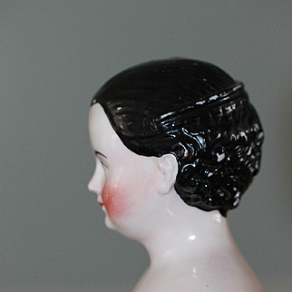 Rare Hair Style, Brown Eyes Antique China Doll