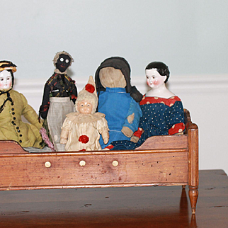 Antique Display Bed for China, Cloth Bisque Dolls