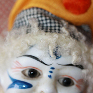 Antique Bisque  Clown w/Cymbals Doll