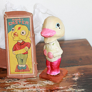 Bobble Head Easter Duck w/ Box for Vintage, Antique Dolls