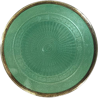 Foster and Bailey Green Enamel Guilloche Compact