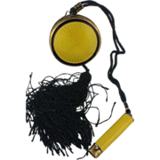 Yellow Guilloche compact with lipstick tube